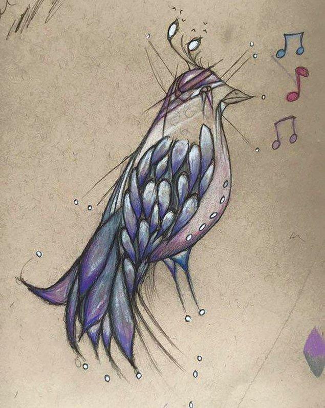 """""""Bu kuşçuk, bana şarkılar söyler,"""" diye tanımlıyor bu resmini."""