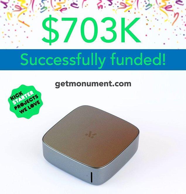 2014 senesinde Monument adlı bir projede yapay zeka destekli depolama cihazı üreten ekip, o sene Kickstarter'da 703bin dolar para toplamışlardı.