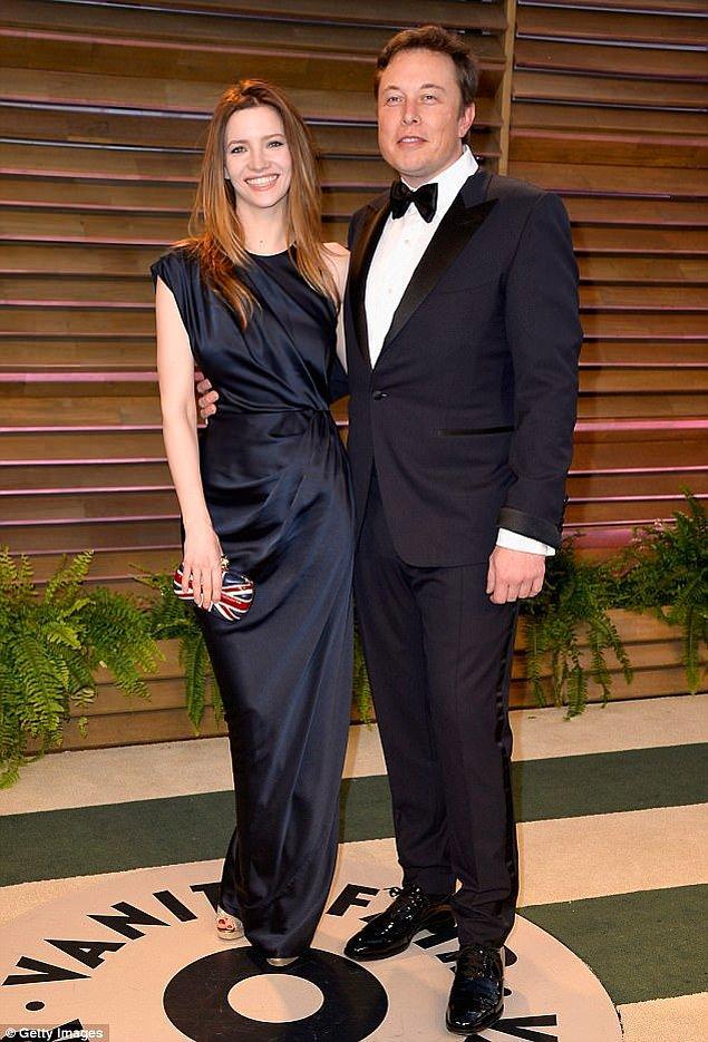 Elon Musk ve eski eşi Talulah Riley Vanity Fair Oscar partisinde, Mart 2014.
