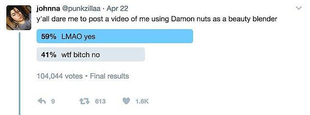Videoyu öncelikle Instagram hesabında paylaşan Hines, gelen tepkiler hoşuna gidince meseleyi Twitter'da oylamaya açmış.