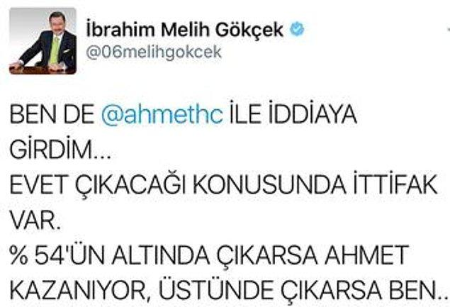 Bu muhteşem ikili en son geçtiğimiz Anayasa Değişikliği Referandumu sonuçları ile ilgili iddiaya girmişler. Melih Başkan, Twitter'dan konuyu özet geçmiş hatta.