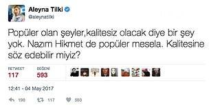 Yine Gündem! Aleyna Tilki'nin Nazım Hikmet'le İlgili Attığı Tweet Sosyal Medyayı Ayağa Kaldırdı!