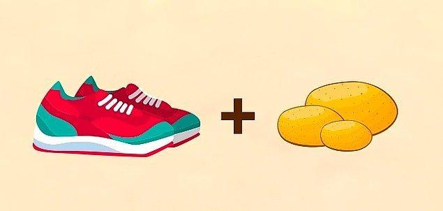 9. Spor ayakkabılarınız ve mokasenleriniz için patates!