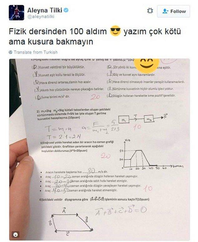 13. Aleyna Tilki, okulu birinci olarak bitirir.