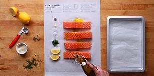 IKEA'dan Üzerinde Yemek Pişirme Talimatları Birer Birer Çizilmiş Süper Pratik Pişirme Kağıdı Posterleri