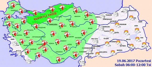Bugün yağışların Marmara'nın doğusu, Orta ve Batı Karadeniz ile Çankırı, Konya, Aksaray, Kırıkkale, Nevşehir, Kırşehir, Yozgat, Isparta'nın doğu ve Antalya'nın kuzeydoğu kesimlerinde yerel olarak kuvvetli olması bekleniyor.