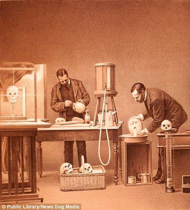 5. 1885 yılında Ulusal Bilim Akademisi'nden araştırmacılar insan kafatasını suyla doldurarak kapasitesini ölçmeyi hedefliyor.