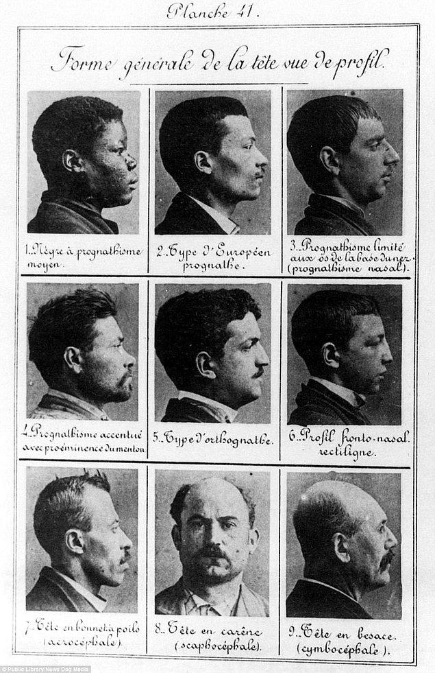 6. Farkli ırklara mensup suçluları tanımlamak için kafatasları inceleniyordu. Bu vesikalıklar 1914'te Fransa'da çekildi.