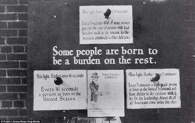 13. Philadelphia eyaletinde sağlıksız insanların üremesinin toplumun diğer kısmına yük olduğunu anlatan bir poster, 1926.