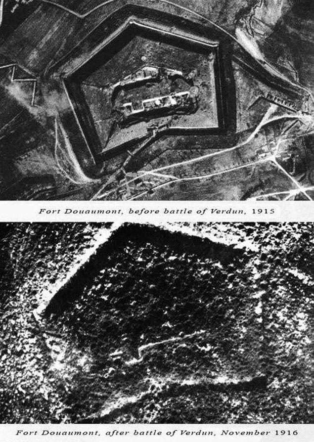 21. 1. Dünya savaşı sırasında Fransa'nın 19 büyük savunma hatlarından biri olan Fort Douaumont'un savaş öncesi ve sonrası değişimi, 1915-16