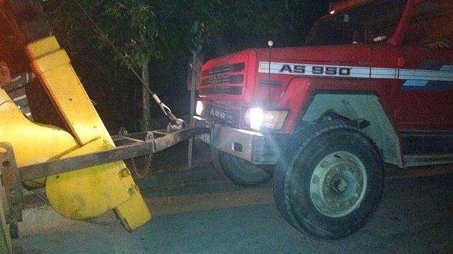 Gübreyi boşaltan kamyon olay yerinden 500 metre ileride terk edilmiş olarak bulundu.