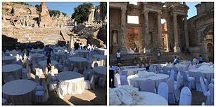 Şaka Değil: 'Efes Antik Kenti'nde Yemekli Organizasyon Yapılıyor'