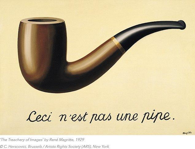 """Bu durumun en güzel örneği de sürrealist akımın en önemli temsilcilerinden Rene Magritte'nin """"Bu bir pipo değildir."""" metinli resminde görülebilmektedir."""
