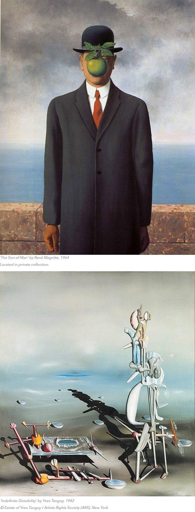 Gerçek ile fantezi arasındaki bu çekim Rene Magritte ve Yves Tanguy çalışmalarında da belirgindir.