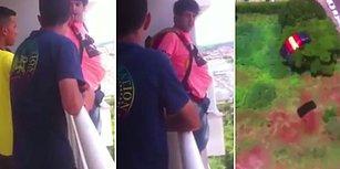 Evin Balkonundan Paraşütle Atlayan Rahatsız Adam