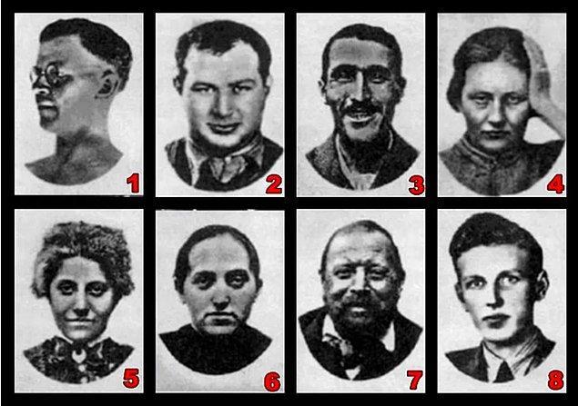 6. Önemli bir soruya geldik. Şimdi bu 8 kişinin fotoğrafına bak ve görüntüsünden tiksindiğin veya korktuğun için karanlıkta karşılaşmak istemediğin bir tipi seç.