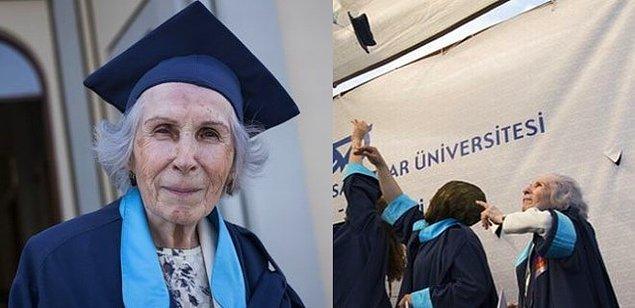 3. 61 yıl sonra afla döndüğü Mimar Sinan Güzel Sanatlar Üniversitesi'nden mezun olan 84 yaşındaki Fatma Mihriban Aktarı.