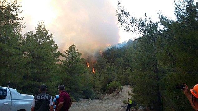 Kaş'ta dün saat 14.30'da başlayan orman yangını 25-30 hektarlık alanda etkili oldu...