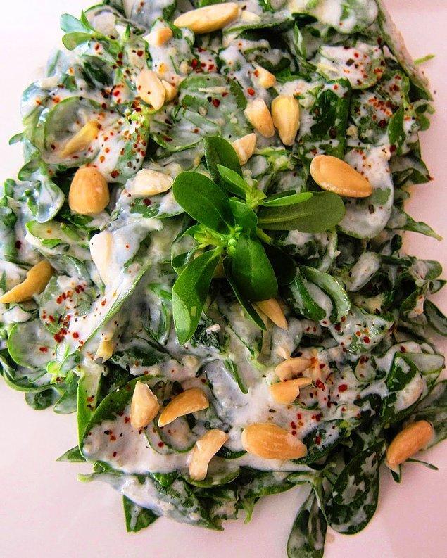 Yoğurtlu semizotu salatası.