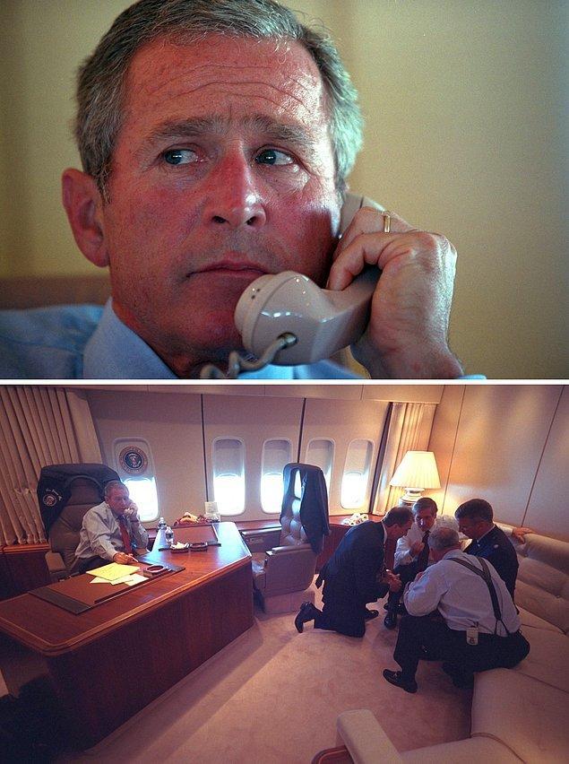 10. George Bush, Sarasota'dan Barksdale Hava Kuvvetleri Üssüne uçuş sırasında, Air Force One'daki bürosundan, personelle telefonda görüşürken.