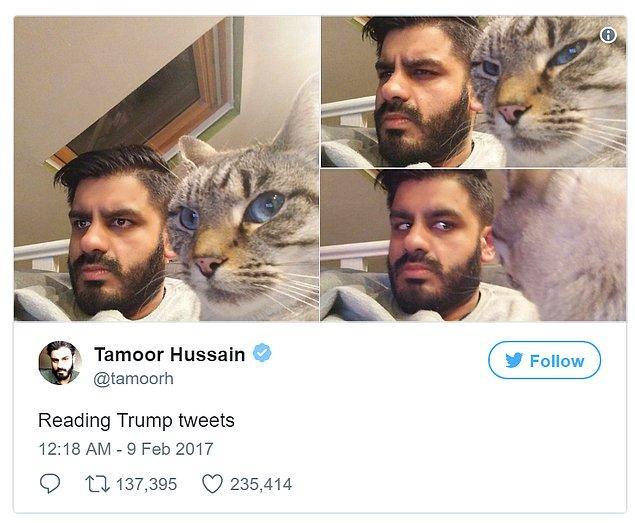 13. Trump'ın tweetlerini okurken biz!