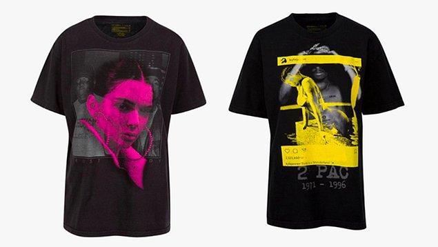 Kylie ve Kendal Jenner'in ünlüler baskılı t-shirtleri ise K + K logosu ile tanesi 125 dolara satılıyor.