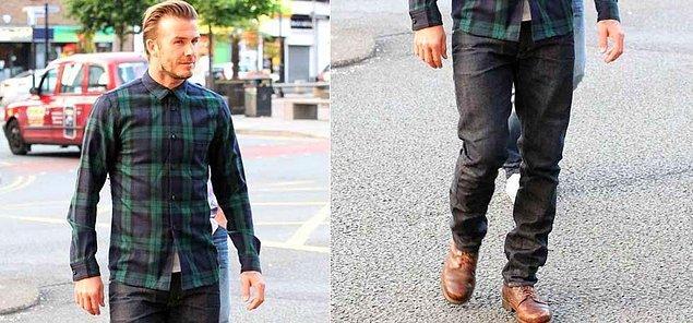 6. Çuval giyse yakışacak erkeklerden olan David Beckham'ın bu sade kombini?