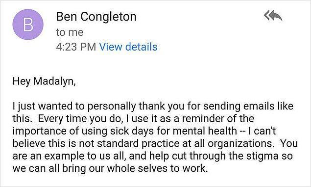 Patronundan gelen cevap ise ilham vericiydi. Azıcık anlayışın ne kadar güzel sonuçlanabileceğinin harika bir örneği.