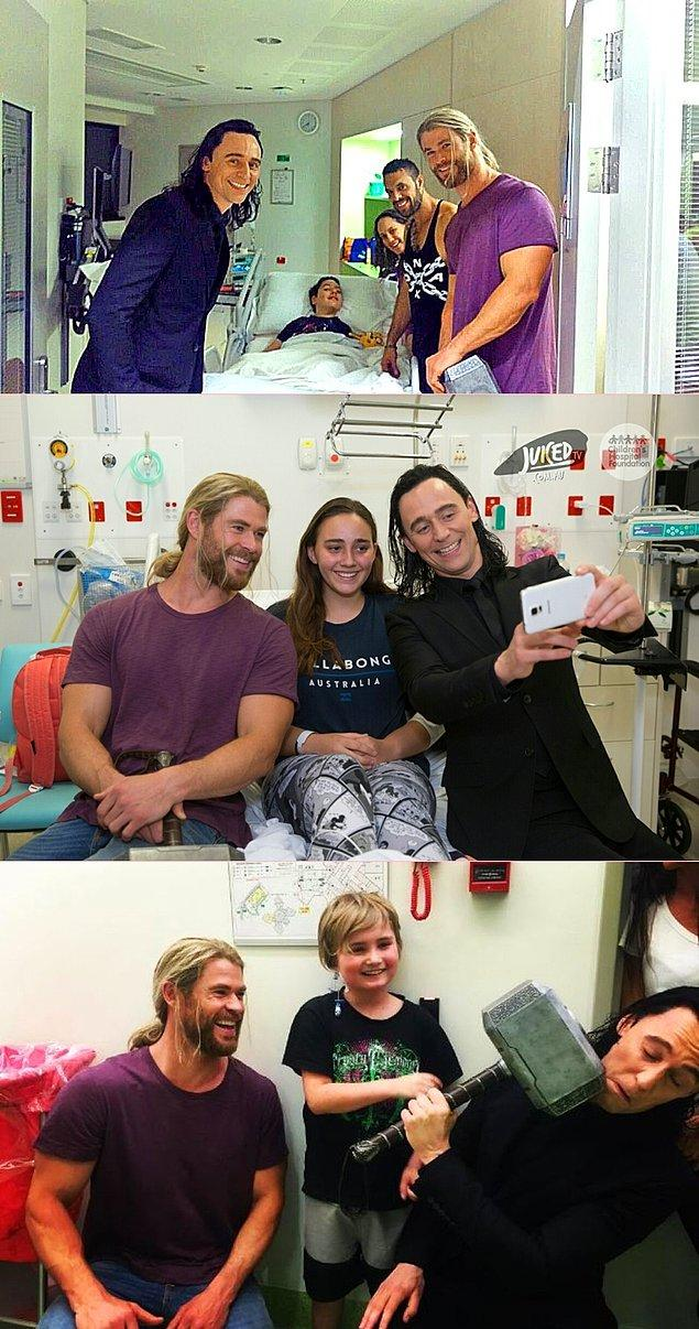 #10 #11 Thor ve Loki'ye bayılan çocukları kırmıyor Chris Hemsworth ve Tom Hiddleston ikilisi.