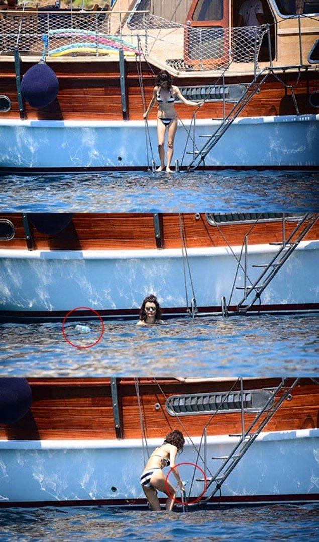 6. Eşi Kenan Doğulu ile tatilde olan Beren Saat, tekneden denize uçan pet şişeyi almak için suya atladı.