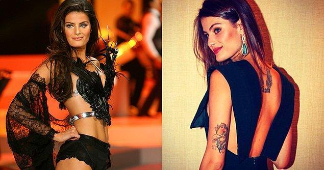 3. Isabeli Fontana, dövmelerinden birini kolunun arkasında, diğerini sırtında taşıyor.