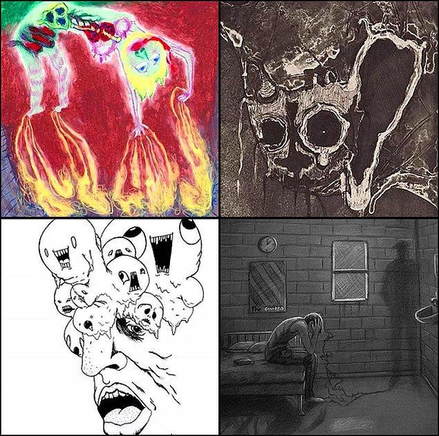 9. Neredeyse sonra geldik. Sence aşağıda yer alan görsellerden hangisini bir şizofreni hastası çizmemiştir?