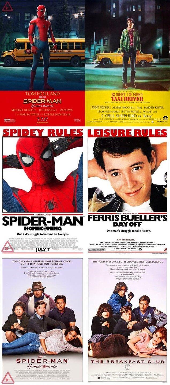 4. Örümcek-Adam: Eve Dönüş filminin retro posterleri yayınlandı;  Taxi Driver, Ferris Bueller's Day Off ve The Breakfast Club filmlerine saygı duruşunda bulunuyor.