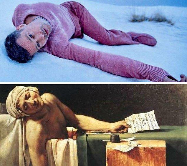 """5. Brad Pitt'in GQ çekiminden bir kare - """"Marat'ın Ölümü"""" Jacques-Louis David, 1793"""