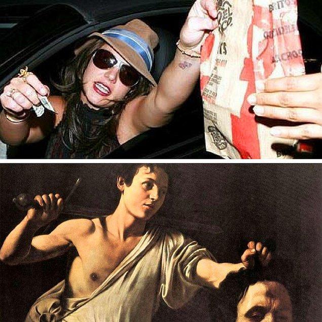 """6. Britney Spears - """"Davut Golyat'ın Kafasıyla"""" Caravaggio, 1607"""