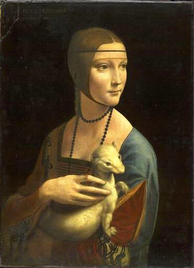 """8. Paris Hilton ünlü köpeği ile - """"Kakımlı Kadın (Cecilia Gallerani'nin portresi) Leonardo Da Vinci, 1490"""