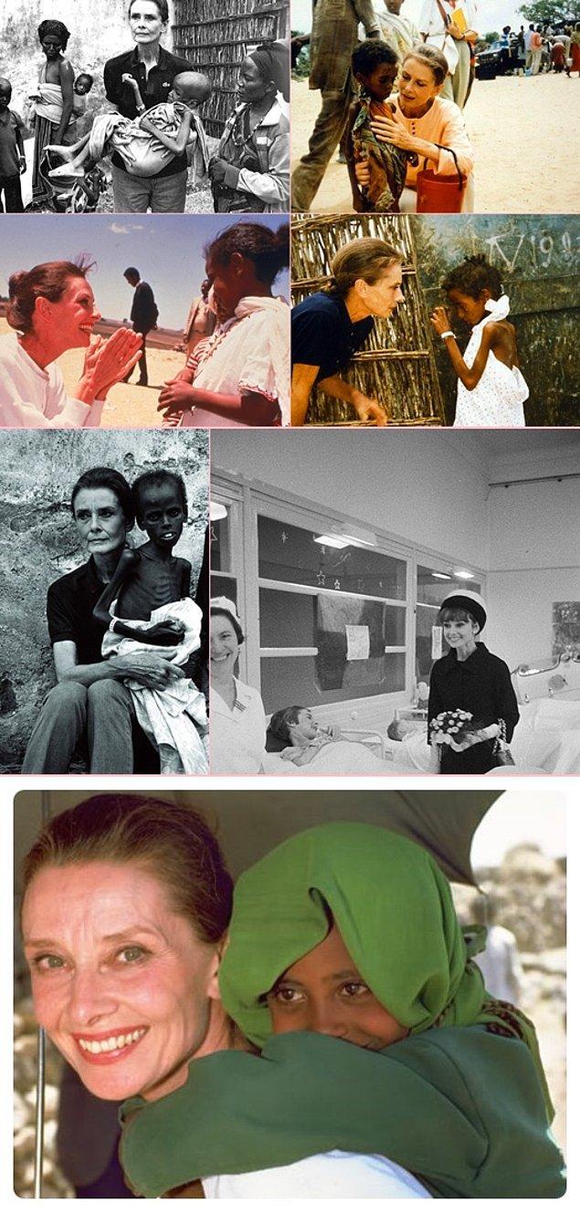 #25 Ve UNICEF elçisi olup kendini insanlara yardıma adayan kendisi güzel, kalbi güzel Audrey Hepburn.