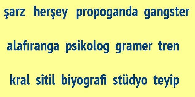 3) Görseldeki kelimelerden kaç tanesinde yazım yanlışı var sence?