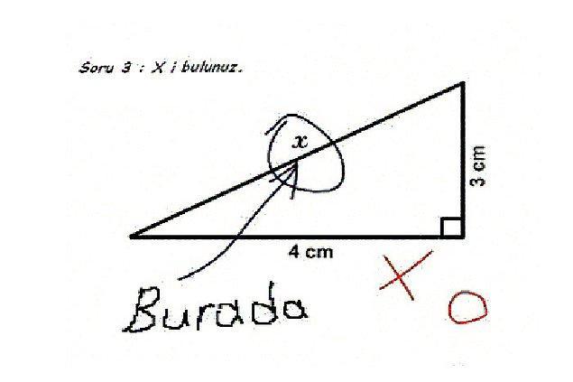8) Orada olduğunu bir kenara koyarsak x'in değeri kaçtır?