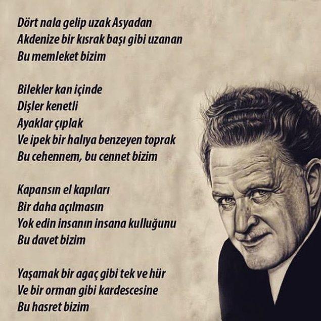5) Geldik son Türkçe sorusuna! Nazım Hikmet'in ''Davet'' şiirinde kaç tane zamir kullanılmıştır?