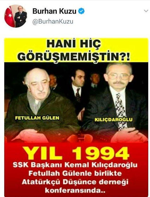 Burhan Kuzu Twitter hesabından Cumhurbaşkanı Erdoğan'ın yerine CHP Genel Başkanı Kılıçdaroğlu'nın montajlandığı bu fotoğrafı paylaştı 👇