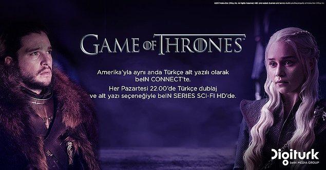 Game of Thrones Amerika'yla aynı anda Türkçe alt yazılı olarak beIN CONNECT'te.