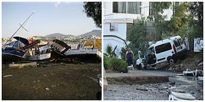 Sabah Ortaya Çıktı: 21 Fotoğraf ile Ege'de Meydana Gelen Depremin Yarattığı Tahribat
