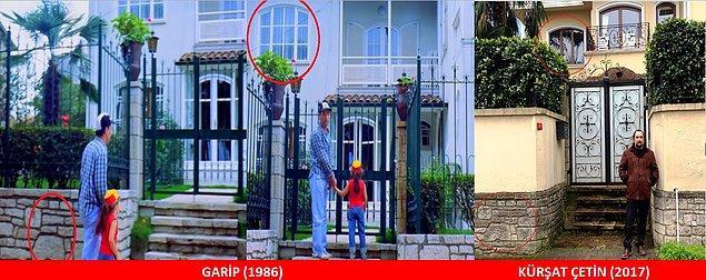 13. GARİP (1986) Kemal ile Fatoş'un aşçı olarak çalışmaya geldikleri ev, ne tesadüftür ki Fatoş'un gerçek babası Naci Akman'ın evidir.