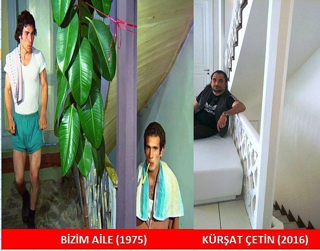 21. BİZİM AİLE (1975) Ahmet Arıman ve Cengiz Nezir'in tuvalet kavgasına başlamadan birkaç saniye öncesi: