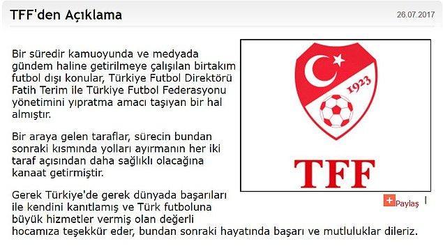 Önergede TFF'nin internet sitesinden yapılan açıklama hatırlatıldı ve Terim'in sözleşmesinin bitimine 16 aylık bir süre kaldığı belirtildi.
