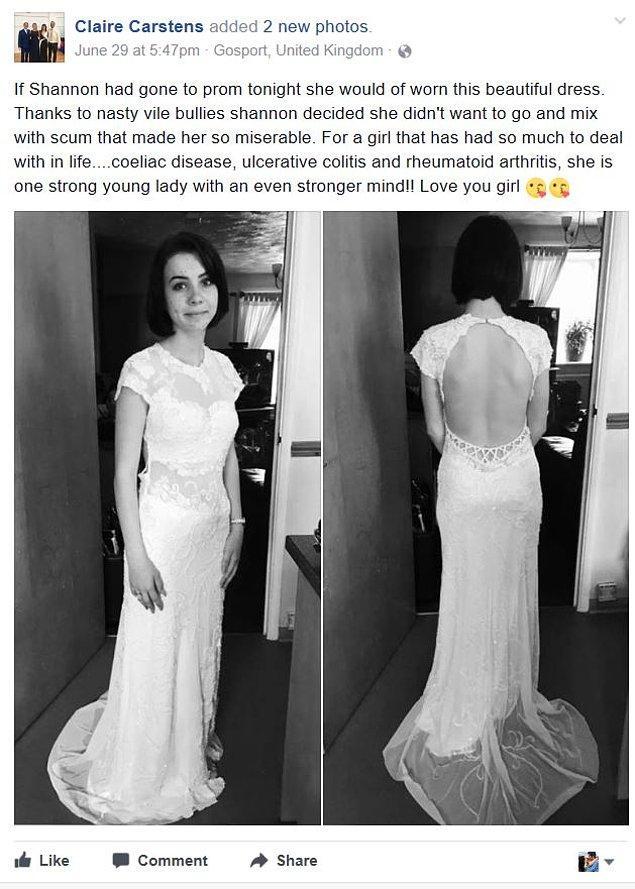 Her lise çağındaki gencin annesi gibi, Claire Carstens da 16 yaşındaki kızı Shannon'ın balo kıyafetiyle harika fotoğraflarını paylaştı. Ancak kendisi bu durumdan pek memnun değildi.