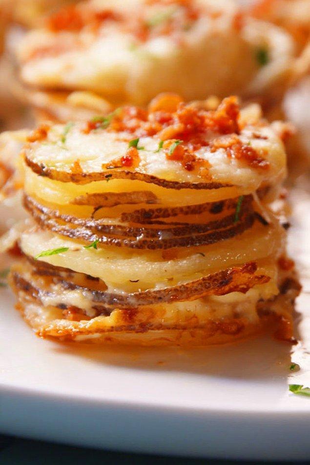 10. Muffin kalıplarında bu sefer patates pişirdik.