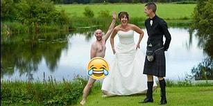 Düğünlerin Vazgeçilmezi Olan Romantik Fotoğraf Çekimini Çırılçıplak Trolleyen Çılgın Arkadaş