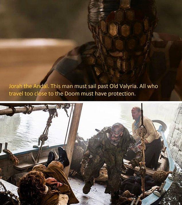 3. 2. Sezonda Quaithe Ser Jorah'ın kaderini söylüyor. O zaman saçma gelmişti ama şu an fazlasıyla anlamlı.